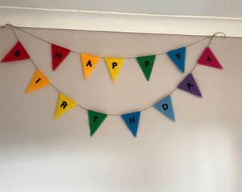 Happy birthday bunting felt banner garland rainbow colours resuseable