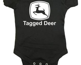"""Deer Hunting Baby One Peice """"Tagged Deer"""" Bodysuit"""