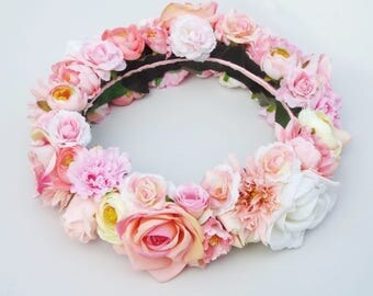 Full Floral head wreath- Pink
