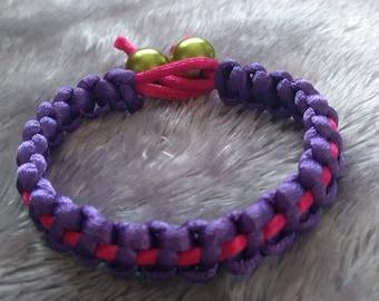 Purple & Pink Macrame Bracelet.