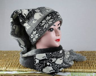 Winter knit scarf hat, Grey wool scarf hat, Cat winter hat, Winter long stocking cap, Womens winter hat, Christmas gift Active Photos