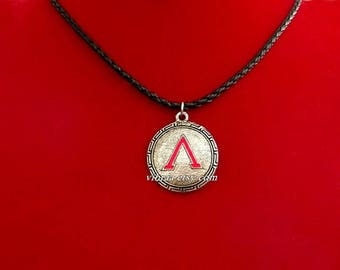 Spartan Warrior Shield With Red Enamel Leather Cord Necklace Pendant