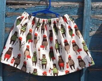 Little bears skirt, kids clothing, handmade, bespoke, fishing bears, age 5