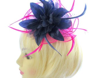 Pink and navy blue fascinator comb for weddings ladies day