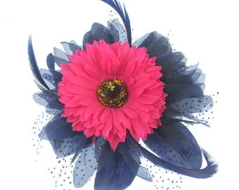 Navy and pink flower fascinator comb, weddings, races, ladies day
