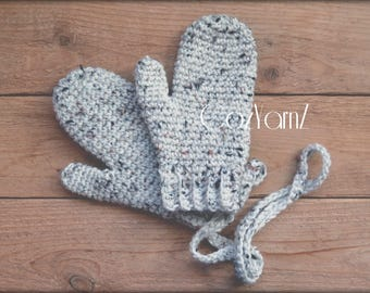 MITTENS!  Cream color with attached strings, Preschool Age Child Size, crochet mittens with strings, children's mittens, unisex mittens