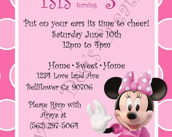 Minnie Mouse, Minnie Mouse Invitations, Minnie Mouse Birthday Invite,