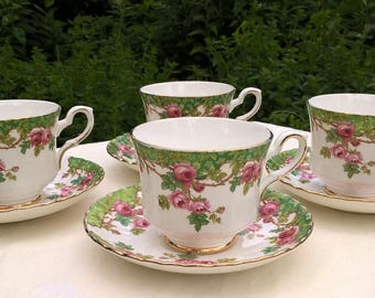 Set of four Royal Stafford Bone China Olde English Garden, Set of 4 teacups and saucers.