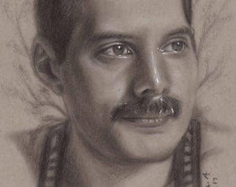 Freddie in charcoal- Original charcoal drawing