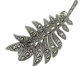 Marcasite Sterling Silver Leaves Brooch