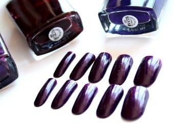 Deep purple nails Dark purple fake nails Artificial nails Purple False nails Fake nails set Glue on nails Press on nails Dark purple nails