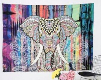 Indian Elephant Tapestry Colored Decorative Mandala Tapestry Indian Boho Wall Carpet Bohemia Beach Blanket Aubusson Decor Home Decor