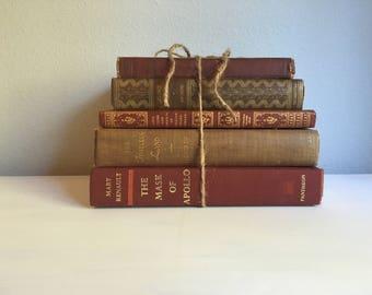 Brown vintage book bundle