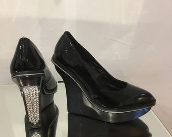 stunning bling wedge shoes, black patent leather, crystal,  rhinestone bling