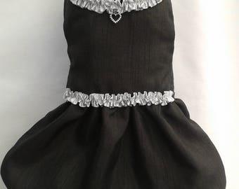 Silver & Black Dog Dress SMALL S