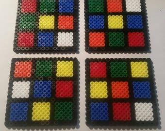 4 x coasters 8x8cm unsolved rubix cube perler hama beads