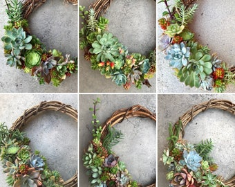 """12"""" (30cm) Living succulent wreath (MADE TO ORDER)"""