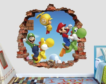 Luigi And Mario Wall Decal 3D Smashed Wall Sticker Mario And Yoshi Wall  Kids Boys Bedroom Part 53