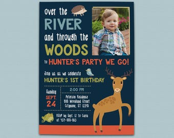 Over the River and Through the Woods Woodland Birthday Invitation