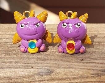 Spyro the Dragon, Spyro Charm, Spyro Keychain, Video Games, Retro, Dragon Jewelry, Dragon Charm, Polymer Clay Charm