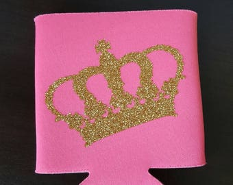 Hot pink. Gold glitter crown. Can holder.