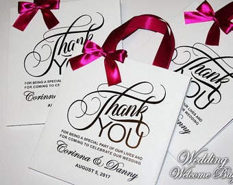 Thank You Gift bags for wedding guest with satin ribbon, bow and your tag, Elegant wedding bags, wedding favor bags, welcome wedding bags