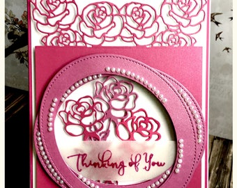 Roses and pearls 3D card