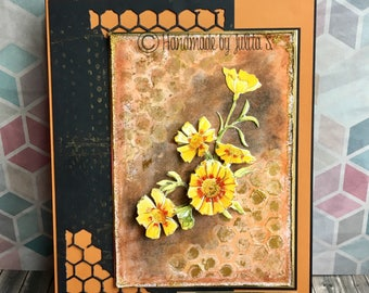 Birthday card - summer card - Honeycomb card - black - orange - gold - decoupage - dimensional card