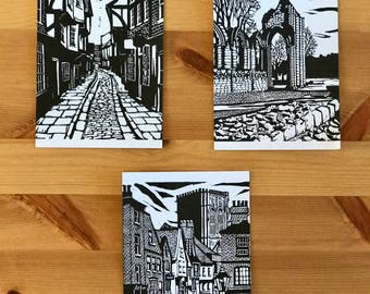 Complete Set of Postcards of Linocut Prints of York Shambles, Abbey Ruins & Stonegate by Maurice Ingham