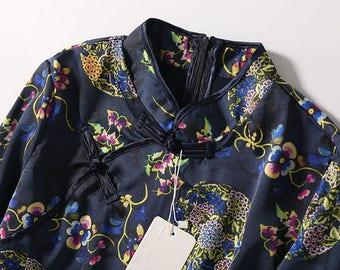 Chinese style improved silk cheongsam【Blue Lotus】