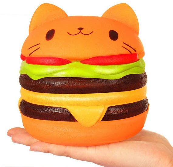 Squishy Hamburger Cat : Scented Jumbo Squishy RARE Slow Rising Squishy Hamburger Cat