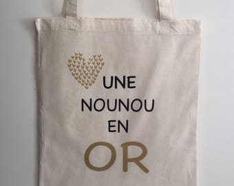 Tote bag in gold nanny