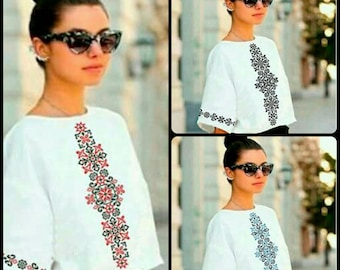 Ukrainian embroidery Vyshyvanka Beaded blouse Embroidered beads shirt Embroidered top Ukrainian white blouse Beading  Handmade vyshyvanka
