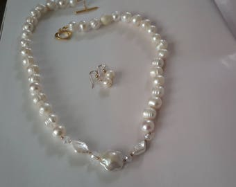 Gorgeous white pearl earrings and necklace set 14K gold filled clasp