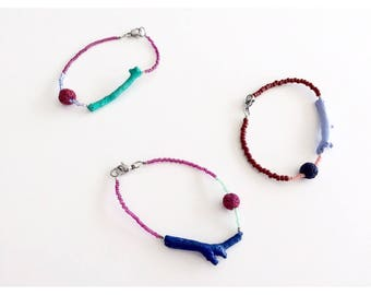 Wood and beads colorful bracelets