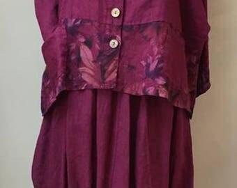 Lagenlook Magenta/Wine 2 piece outfit Fits 12-20uk