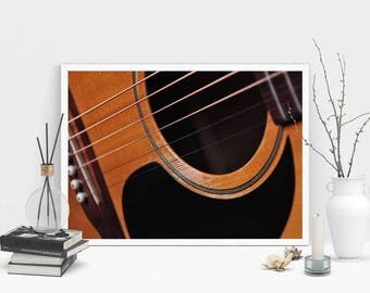 Guitar Photography Print, Wall Art, Color Print, Printable Art, Instant Digital Download Print