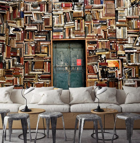 Quality Bookshelf Wall Paper Mural by AJWALLPAPERS