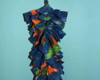 "Chinvilla 11"" Hanging Chinchilla Fleece Cuddle Toy - Blue, Orange, & Green"