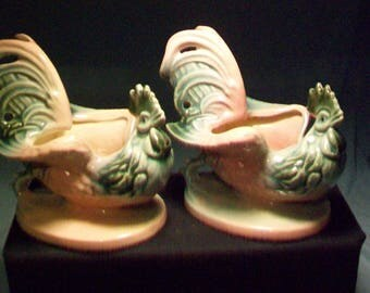 Two Hull Pottery Pink Green Banty Roosters