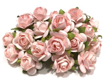 Pale Pink Open Mulberry Paper Roses Or078