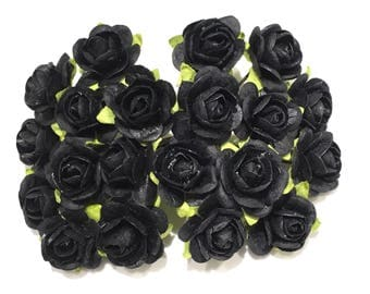 Black Open Mulberry Paper Roses Or040