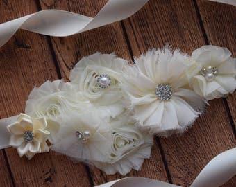 Ivory sash ,flower Belt, maternity sash, wedding sash, flower girl sash, maternity sash belt