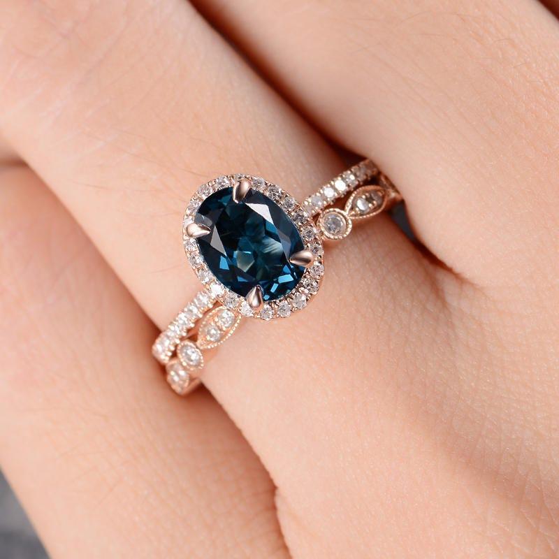 Rose Gold London Blue Topaz Engagement Ring Bridal Set Diamond Art