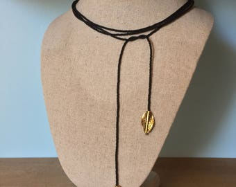 Lariat Seed Bead Necklace Black & Gold