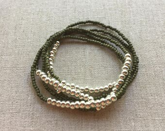 Seed Bead Stretch Layering Bracelet- Olive Green
