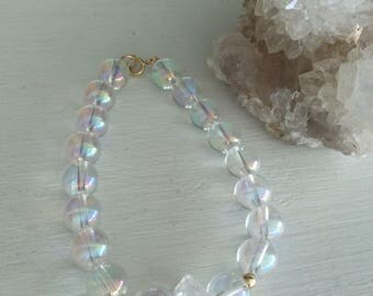 Angelic Guidance, Lightbody Activation, Advanced Lightwork Angel Aura Quartz & Herkimer Diamond bracelet