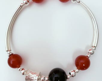 Red Agate and 925 Sterling Silver, Black Agate and Sterling Silver