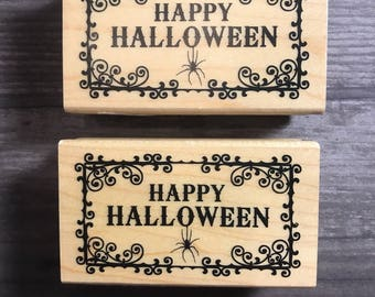 Happy Halloween Words Wooden Block Stamp
