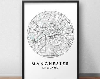Manchester City Print, Street Map Art, Manchester Map Poster, Manchester Map Print, City Map Wall Art, Manchester Map, Travel Poster